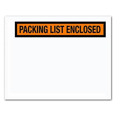 "Office Depot® Brand ""Packing List Enclosed"" Envelopes, Panel Face, Orange, 7"" x 5 1/2"", Pack Of 1,000"