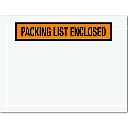 "Office Depot® Brand ""Packing List Enclosed"" Envelopes, Panel Face, 6 1/2"" x 5"", Orange, Pack Of 1,000"