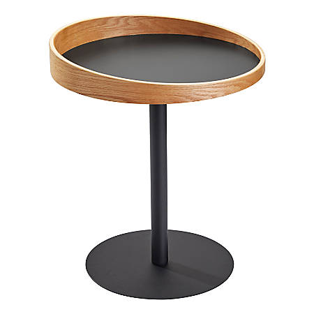 "Adesso® Crater End Table, Square, 21-1/2""H x 18""W x 18""D, Black/Natural Oak"