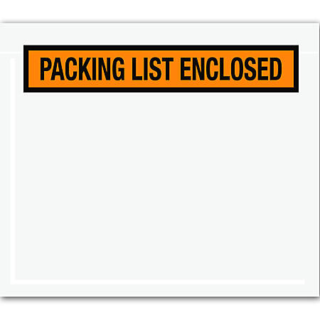 "Office Depot® Brand ""Packing List Enclosed"" Envelopes, Panel Face, 7"" x 6"", Orange, Pack Of 1,000"