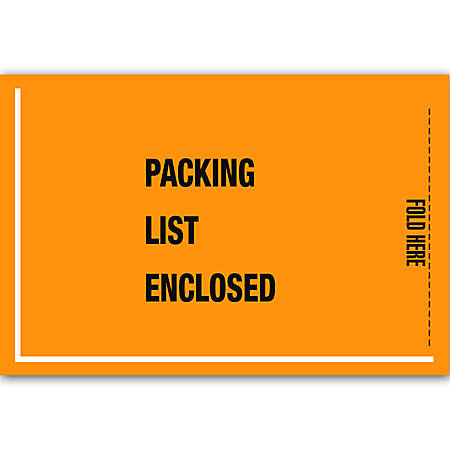 "Office Depot® Brand ""Packing List Enclosed"" Military Envelopes, 5 1/4"" x 8"", Orange, Pack Of 1,000"
