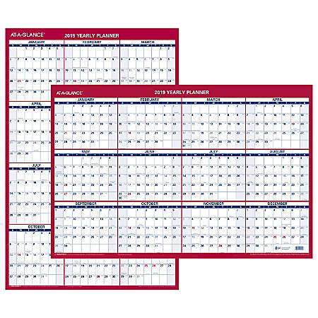 "AT-A-GLANCE® Vertical/Horizontal Erasable Reversible Wall Calendar, 24"" x 36"", January to December 2019"