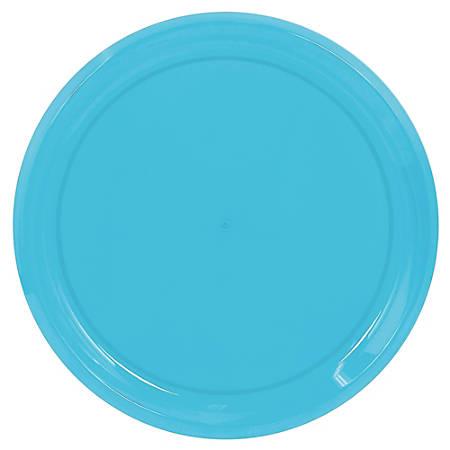 "Amscan Round Plastic Platters, 16"", Caribbean Blue, Pack Of 5 Platters"
