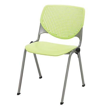 KFI Studios KOOL Stacking Chair, Lime Green/Silver