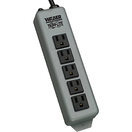 Tripp Lite Waber Power Strip Metal 5-15R 5 Outlet 5-15P 15' Cord - NEMA 5-15P - 15ft