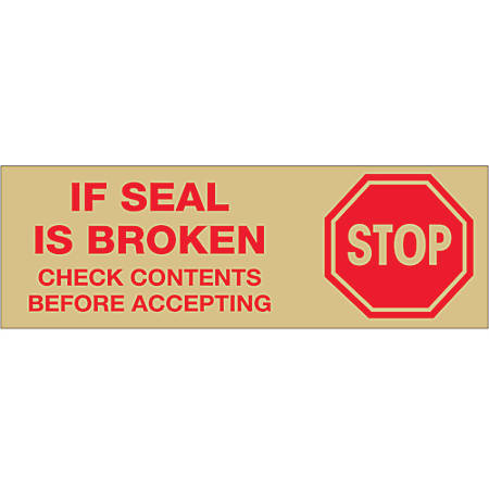 "Tape Logic® Stop If Seal Is Broken Preprinted Carton-Sealing Tape, 3"" Core, 2"" x 55 Yd., Red/Tan, Case Of 6"
