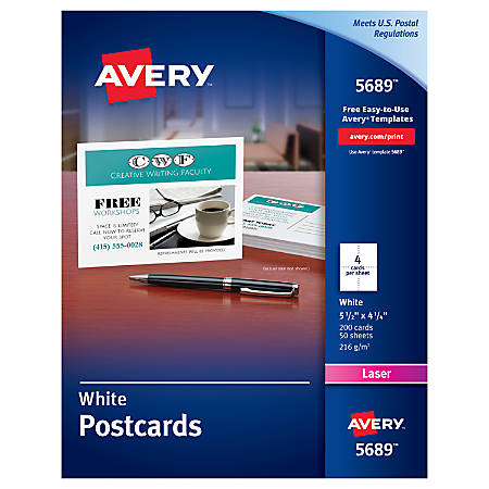 avery laser post cards 4 14 x 5 12 white box of 200 by office depot