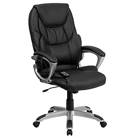 Flash Furniture Massaging Leather High-Back Swivel Office Chair, Black/Silver
