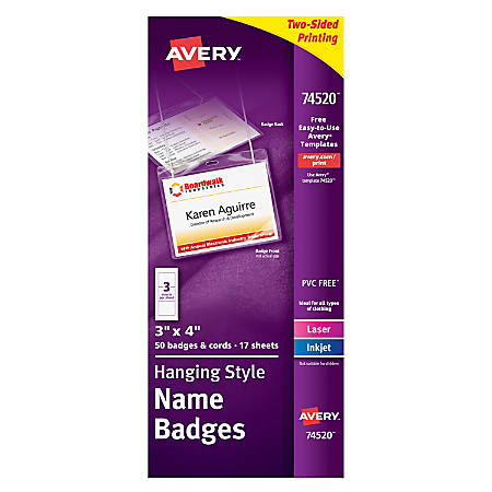 Avery Hanging Name Badge Kit X Box Of By Office Depot OfficeMax - 3x4 name tag template