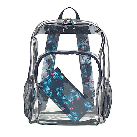 Aquarius Clear PVC Backpack With Pencil Case, Tropical Print Straps