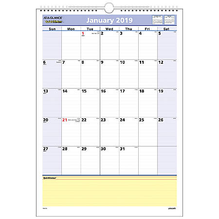 "AT-A-GLANCE® QuickNotes® Monthly Wall Calendar, 12"" x 17"", January to December 2019"