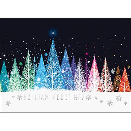"Custom Embellished Holiday Cards And Foil Envelopes, 7-7/8"" x 5-5/8"", Sparkling Forest, Box Of 25 Cards"