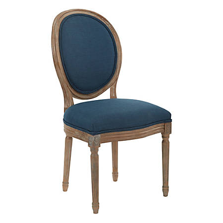 Ave Six Lillian Oval-Back Chair, Klein Azure/Light Brown