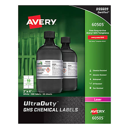 """Avery® UltraDuty™ GHS Chemical Labels, AVE60505, 2"""" x 4"""", White, Box Of 500"""