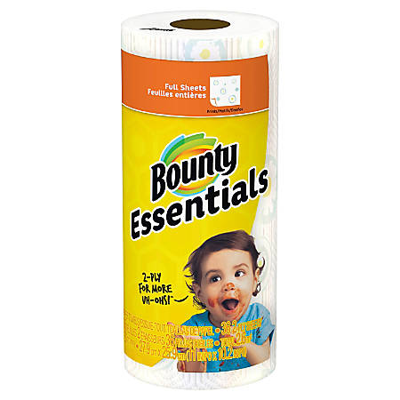 "Bounty Essentials 2-Ply Paper Towels, 11"" x 10 1/4"", Print, 78 Sheets Per Roll, 1 Roll"