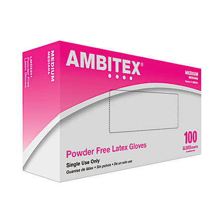 Tradex International Powder-Free Latex General Purpose Gloves, Medium, White, Box Of 100