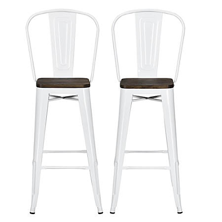 Tremendous Dhp Luxor Metal Bar Stools White Set Of 2 Item 580908 Ocoug Best Dining Table And Chair Ideas Images Ocougorg