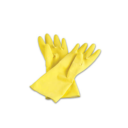 Tradex International Flock-Lined Latex General Purpose Gloves, Small, Yellow, 144 Pairs