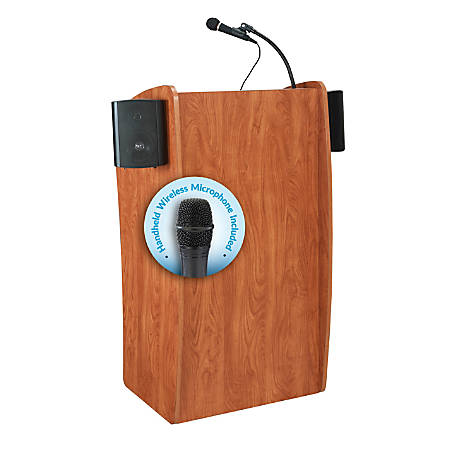 Oklahoma Sound® The Vision Lectern With Sound & Handheld Wireless Microphone, Cherry