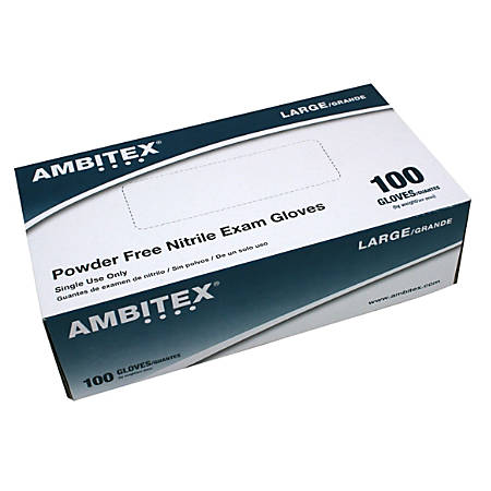 Tradex International Powder-Free Nitrile Exam Gloves, Large, Blue, Box Of 100