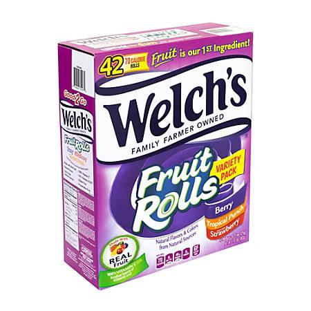 Welch's Fruit Rolls Fruit Snacks Variety Pack, 0.75 Oz, Pack Of 42 Snacks