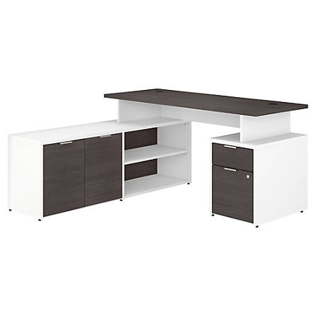 "Bush Business Furniture Jamestown L-Shaped Desk With Drawers, 60""W, Storm Gray/White, Standard Delivery"