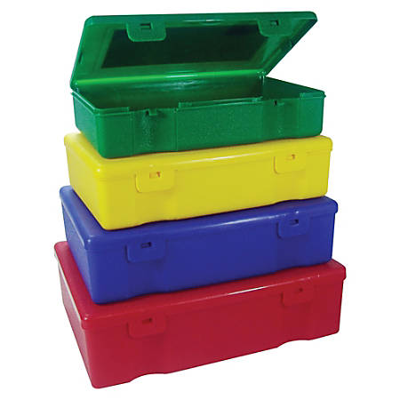 Sparco 4-in-1 Storage Box Set - Snap Lock Closure - Stackable - Polypropylene - Assorted - For Home, School, Office, Hardware, Stationary - 4 / Set