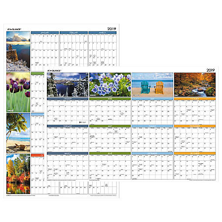 """AT-A-GLANCE® Seasons In Bloom Horizontal/Vertical Erasable Yearly Wall Calendar, 36"""" x 24"""", January to December 2019"""