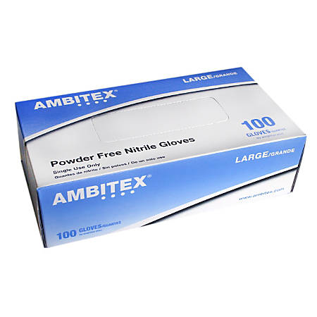 Tradex International Powder-Free Nitrile General Purpose Gloves, Large, Blue, Box Of 100