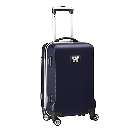 "Denco Sports Luggage NCAA ABS Plastic Rolling Domestic Carry-On Spinner, 20"" x 13 1/2"" x 9"", Washington Huskies, Navy"