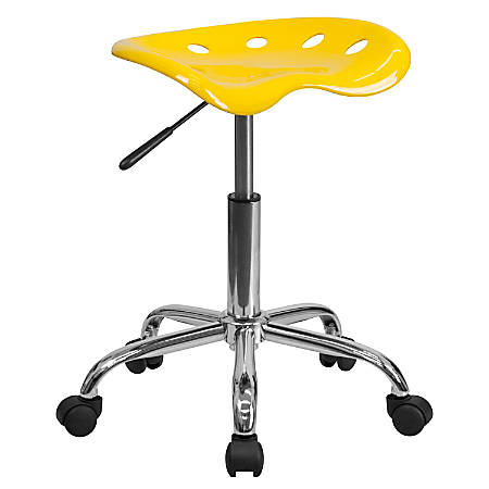 Flash Furniture Vibrant Tractor Seat Stool, Orange-Yellow/Chrome