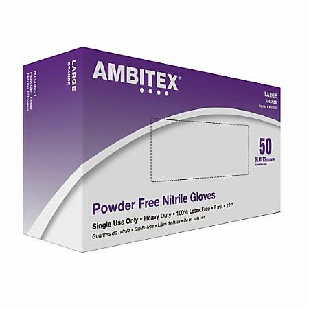 Tradex International 8 Mil. Powder-Free Nitrile General Purpose Gloves, Large, Blue, Box Of 50