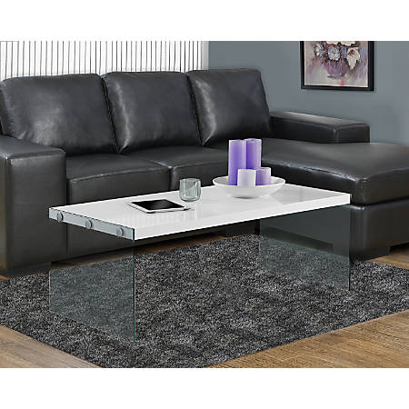 Monarch Specialties Coffee Table With Glass Base, Rectangle, Glossy White