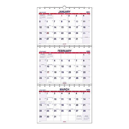 """AT-A-GLANCE® Move-A-Page 15-Month Calendar, 12"""" x 27"""", December 2019 To February 2021, PMLF1128"""
