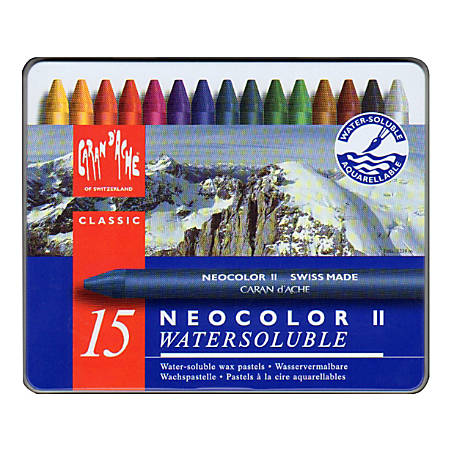 Caran d'Ache Neocolor II Aquarelle Water-Soluble Wax Pastels, Set Of 15