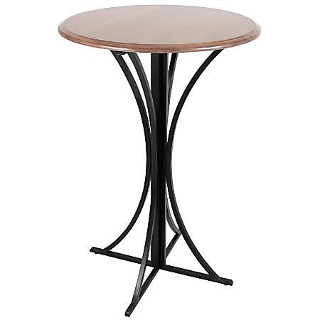 Lumisource Boro Contemporary Bar Table, Round, Walnut/Black