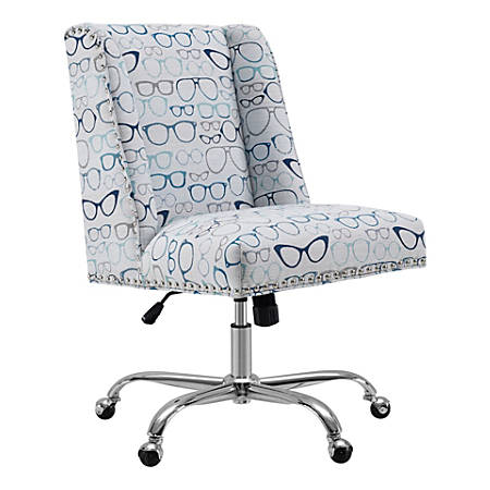 Linon Home Décor Cooper Mid-Back Chair, Glasses Print/Chrome