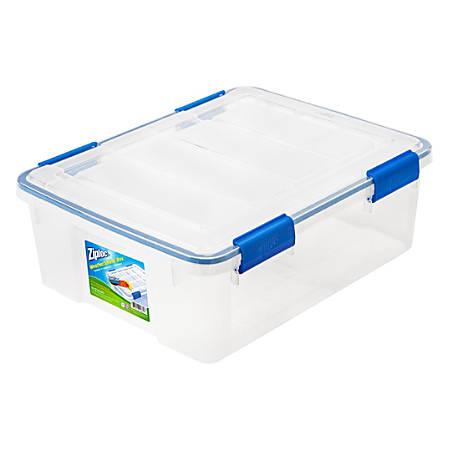 """Ziploc® Weathertight Storage Box, 26.5-Quart, 7 1/10""""H x 15 4/5""""W x 19 7/10""""D, Clear"""