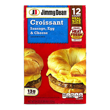 Jimmy Dean Sausage, Egg and Cheese Croissant Breakfast Sandwiches, 54.08 Oz, Box Of 12 Sandwiches