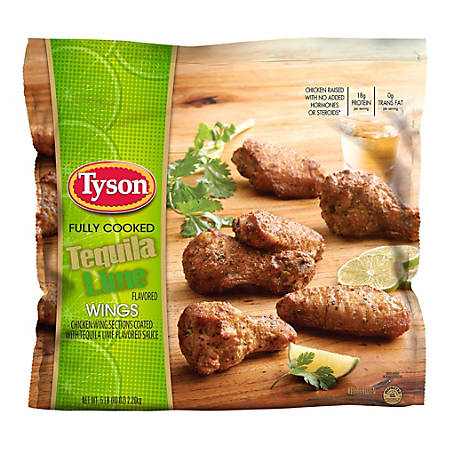 Tyson Fully Cooked Tequila Lime Chicken Wings, 5 Lb