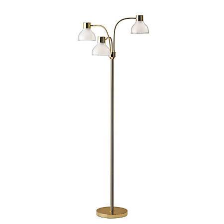 "Adesso® Presley 3-Arm Floor Lamp, 69""H, Clear Shade/Shiny Gold Base"