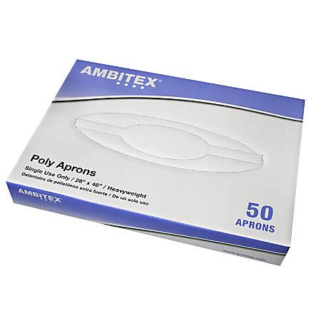 "Ambitex Heavyweight Polyethylene Aprons, 28"" x 46"", White, Box Of 50"