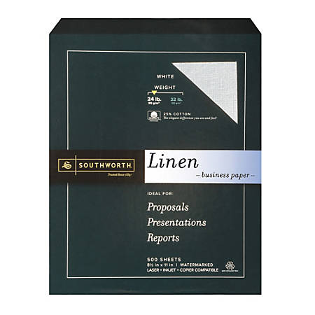 "Southworth® 25% Cotton Linen Business Paper, 8 1/2"" x 11"", 24 Lb, 55% Recycled, FSC® Certified, White, Box Of 500"