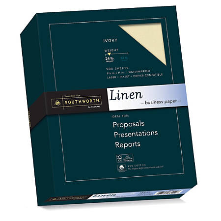 "Southworth® 25% Cotton Linen Business Paper, 8 1/2"" x 11"", 24 Lb, 55% Recycled, FSC® Certified, Ivory, Box Of 500"