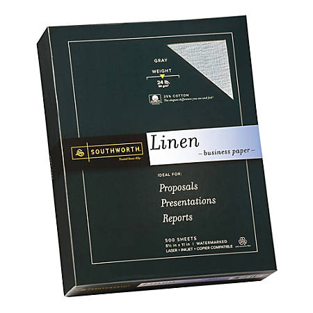 "Southworth® Cotton Linen Business Paper, 8 1/2"" x 11"", 24 Lb, 55% Recycled, FSC® Certified, Gray, Box Of 500"