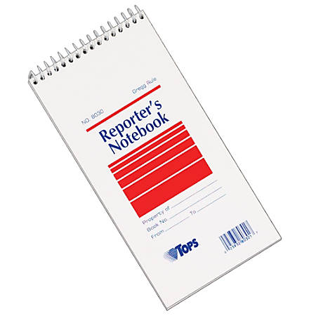 "TOPS™ Reporter's Notebooks, 4"" x 8"", 1 Subject, Gregg Ruled, 70 Sheets, Pack Of 12 Books"