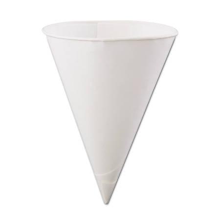 Konie® Rolled-Rim Paper Cone Cups, 6 Oz, White, 200 Cups Per Bag, Carton Of 25 Bags