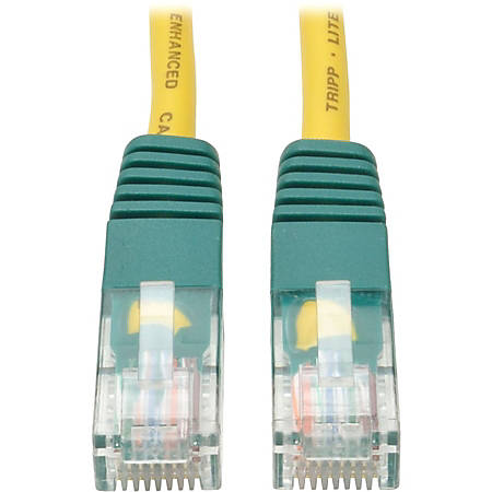 Tripp Lite 10ft Cat5e Cat5 Molded Snagless Crossover Patch Cable RJ45 Yellow 10' - Category 5e for Network Device - 10ft - 1 x RJ-45 Male Network - 1 x RJ-45 Male Network - Yellow