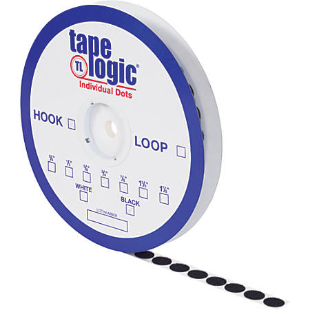"Tape Logic® Individual Tape Dots, Hooks, 1.38"", Black, Case Of 600"