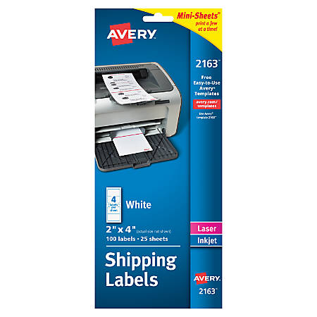 """Avery® Inkjet/Laser Labels, 2163, Mini-Sheets® Shipping, 2"""" x 4"""", Permanent, White, Pack Of 100"""